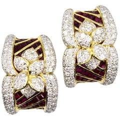 Modern Diamond Ruby Floral 18 Karat Yellow Gold Earrings