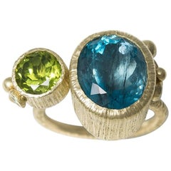 Dramatic Aquamarine and Peridot Cocktail Ring in Green Gold and Sterling Silver