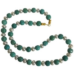 Tibetan Turquoise and South Sea Pearl Necklace