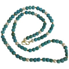 Long Necklace with Tibetan Turquoise, Freshwater Pearls and 18 Karat Gold Beads