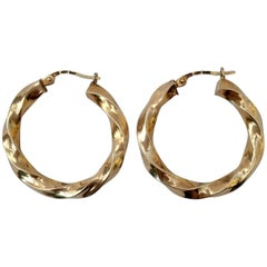 Vintage Gold Hoops Wavy Twisted Gypsy Earrings