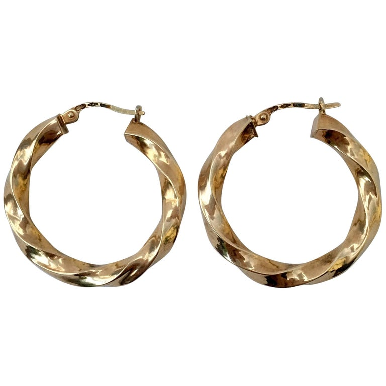 Vintage Gold Hoops Wavy Twisted Gypsy Earrings For Sale at 1stdibs