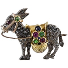 Victorian Gem Set Donkey Brooch