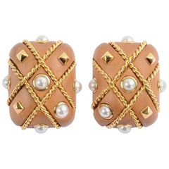 Seaman Schepps Walnut Pearl Cage Earrings