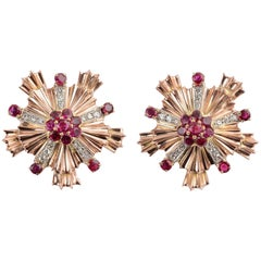 Tiffany & Co. Retro Ruby Diamond Starburst Earrings