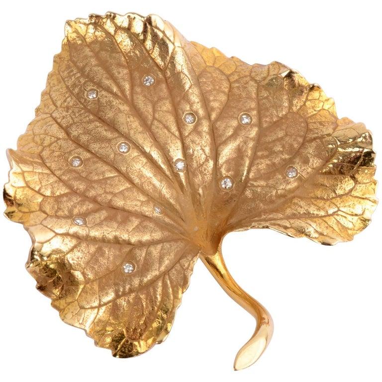 Gold Violet Leaf Brooch
