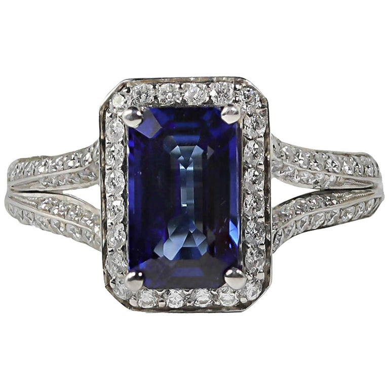 Mark Patterson Sapphire and Diamond Platinum Cocktail Ring