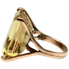 Large Citrine Emerald Cut Single Stone Cocktail Ring