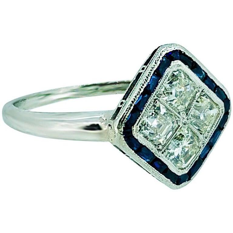 1.20 Carat Diamond .65 Carat Sapphire Antique Engagement
