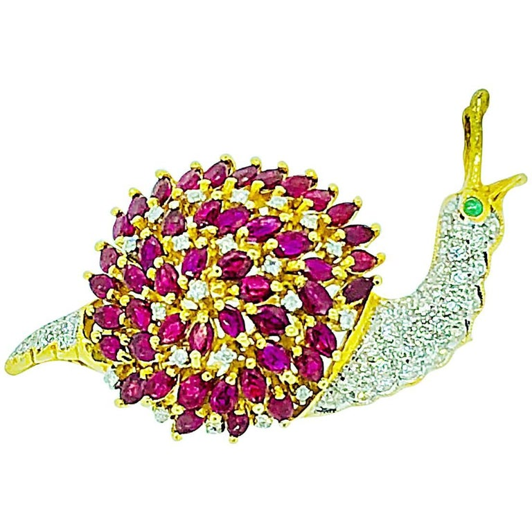 Burma Ruby Diamond and Emerald Brooch