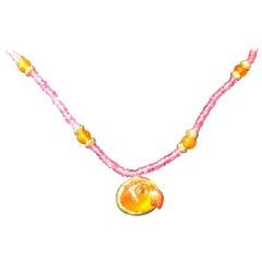 Mandarin Orange Garnet Parrot Pendant