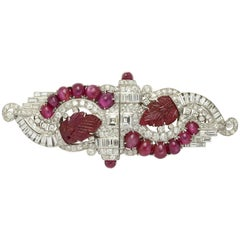 Art Deco Carved Ruby and Diamond Double Clip Brooch or Pearl Combination