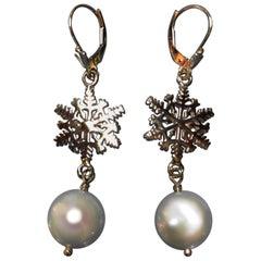 Snowflake Coin Pearl Earrings