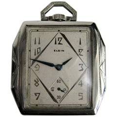 Antique Art Deco 1927 Elgin 14 Karat White Gold Filled 17 Jewels Pocket Watch