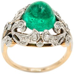 Edwardian Emerald Cabochon Diamond Filigree Ring Yellow Gold Platinum