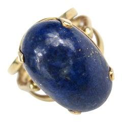 14 Karat Gold Lapis Lazuli Ring, Midcentury