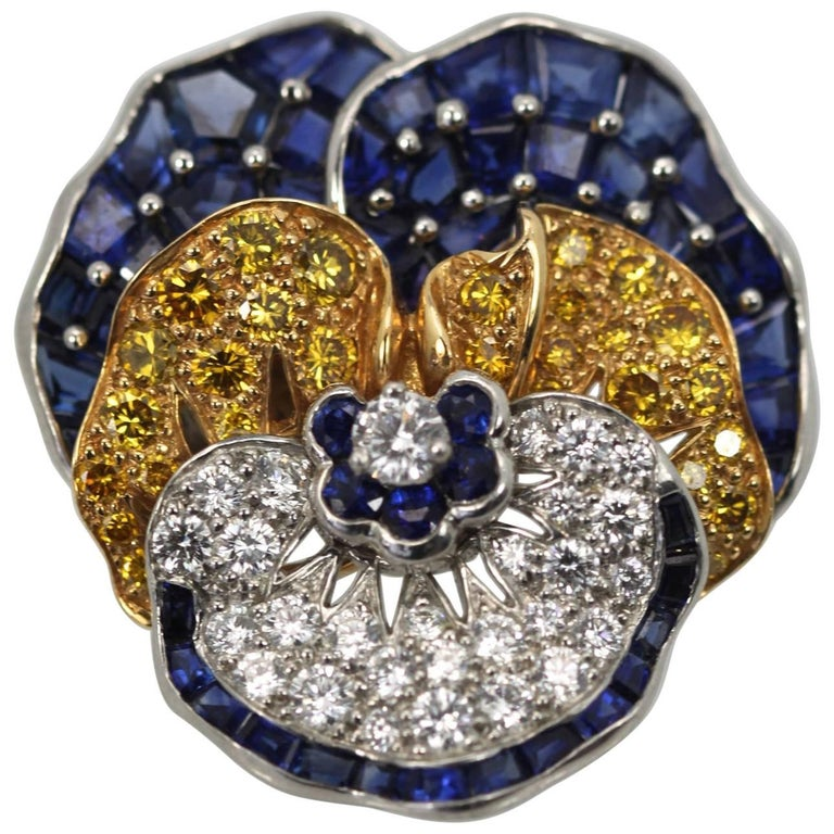 Oscar Heyman Sapphire Diamond Pansy Brooch 18 Karat