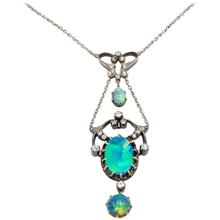 Three Opal and Diamond Edwardian Gold and Silver Pendant Necklace