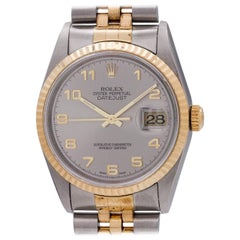 Rolex Yellow Gold Stainless Steel Datejust Arabic Self Winding Wristwatch