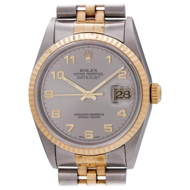Rolex Yellow Gold Stainless Steel Datejust Arabic Self Winding Wristwatch
