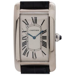 Cartier White Gold Tank American Extra Large manual wristwatch, circa 1990s