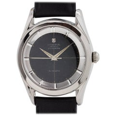 Universal Stainless Steel Geneve Polerouter Black Dial Automatic Wrisch
