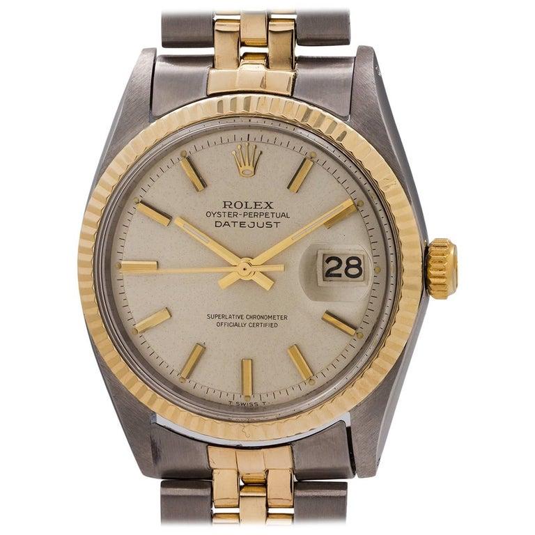 Rolex Yellow Gold Stainless Steel Datejust self winding Wristwatch, circa 1965