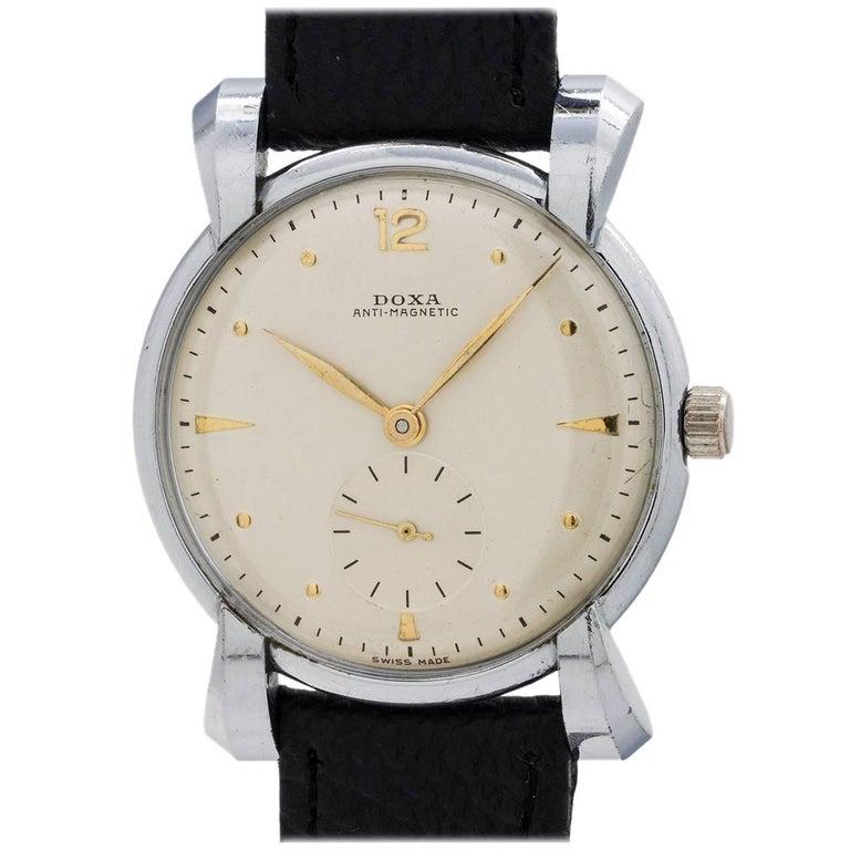 Doxa stainless steel Oversize Dress Model manual wristwatch, circa 1950s