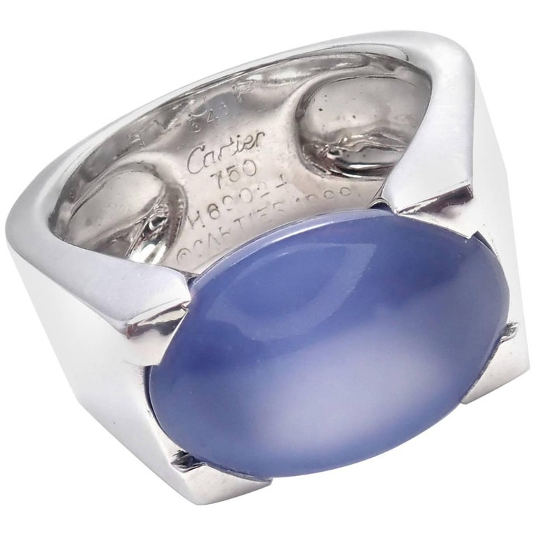 Cartier Large Chalcedony White Gold Ring