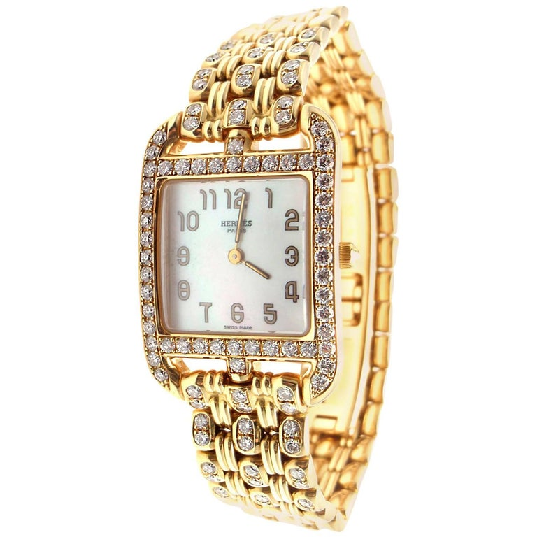 Hermes Ladies Yellow Gold Diamond Cape Cod Quartz Wristwatch 1