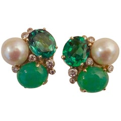Michael Kneebone Chrysoprase Green Topaz Diamond South Seas Pearl Earrings