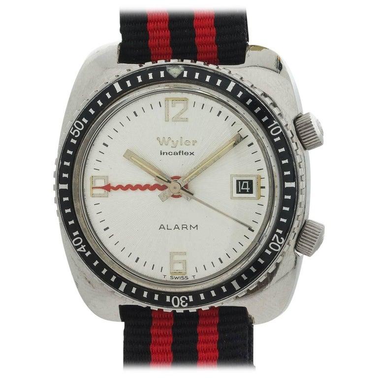 "Wyler stainless steel Alarm ""Moderne"" Manual Wristwatch, circa 1960s"