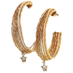 "Wellendorff  ""Brilliance of the Sun"" 18K Yellow Gold Hoop Earrings"