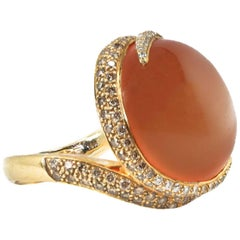 Gumuchian Moonstone Cabochon and Diamond Ring