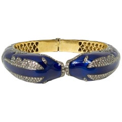 Russian Blue Enamel Diamond Gold Dolphin Bracelet Bangle