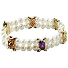 Cultured Pearl and Semi Precious Stone Double Strand Bracelet