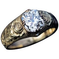 Antique Russian 2.19 Carat Old Cushion Cut Diamond Gold Unisex Ring
