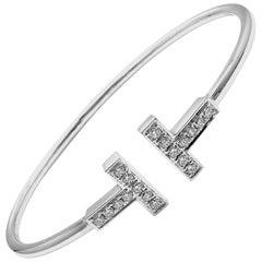 Tiffany & Co. Diamond T Wire White Gold Bangle Bracelet