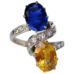 French Blue Orange Sapphire Diamond Ring