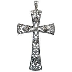 Large Antique Openwork Diamond Platinum Cross Pendant