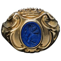 19th Century Antique Lapis Gold Armorial Signet Ring