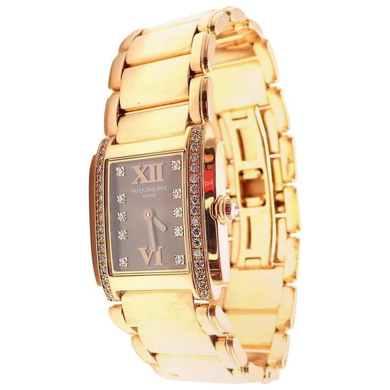 Patek Philippe Ladies Rose Gold Diamond Twenty 4 Quartz Wristwatch Ref 4908/11R