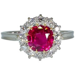 Antique Natural No Heat Burma Ruby and Diamond Ring, circa 1900