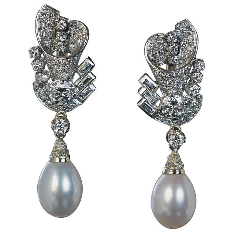 Art Deco Diamond Cultured Pearl Dangle Earrings