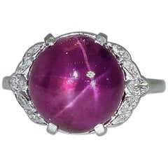 Natural Unheated Purplish Red Star Sapphire and Diamond Ring by Birks