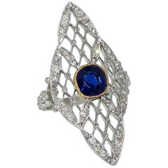 Edwardian Diamond and Sapphire Ring
