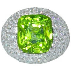 Fine Peridot and Diamond Ring