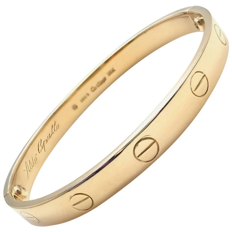 Cartier Vintage Original Aldo Cipullo Yellow Gold Love Bracelet For Sale