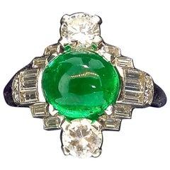 Art Deco Emerald and Diamond Ring, circa 1930
