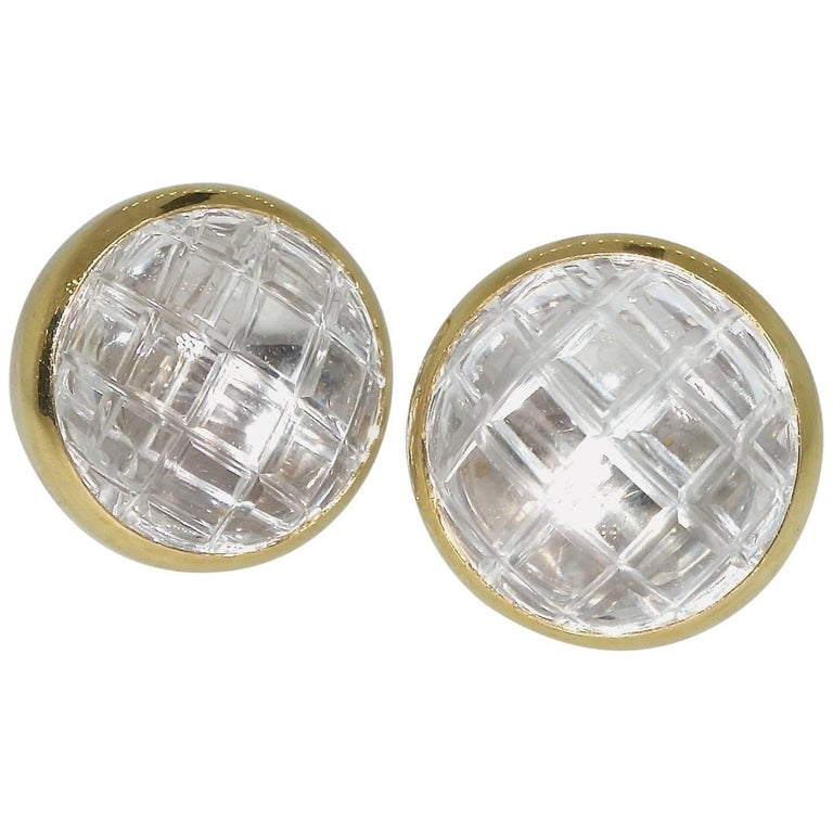 David Webb Rock Crystal Ear Clips